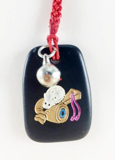震撼精品百貨日本手機吊飾~招財吊飾-黑色底款-老鼠圖案