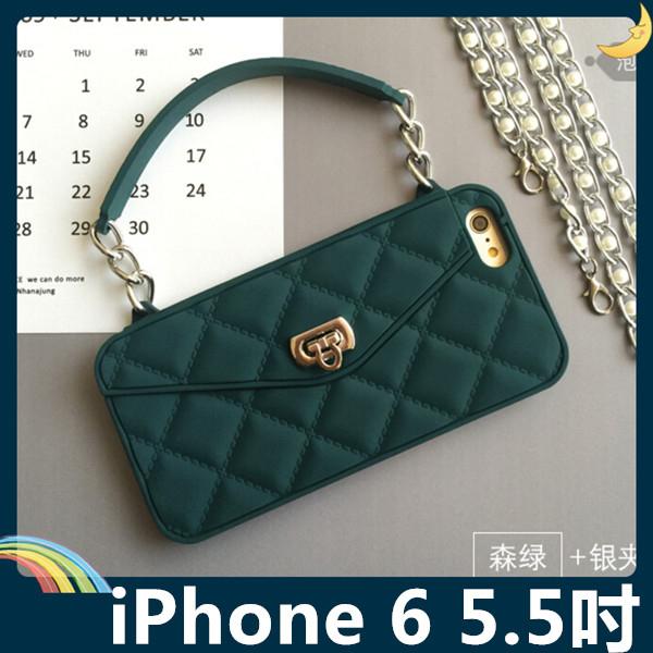 iPhone 6 6s Plus 5.5吋格紋包保護套軟殼時尚手提包插卡錢夾附側背長掛鍊矽膠套99購物節手機殼