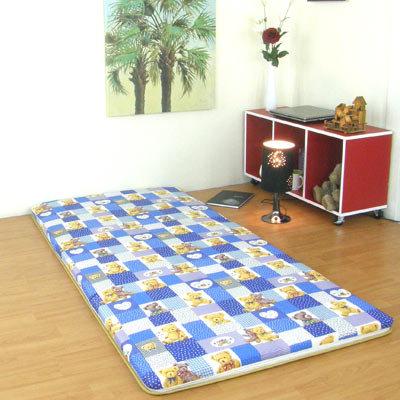 小葉子-24 hours藍色格子熊-直立纖維棉三折疊竹蓆涼蓆床墊單人3呎