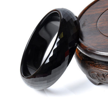 黑色水晶手鐲刻面寬20mm