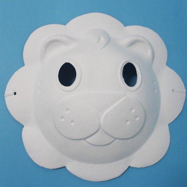 獅子面具空白動物面具DIY面具紙面具紙漿面具附鬆緊帶一袋50個入定40~725348