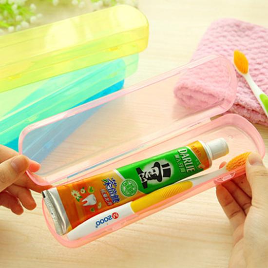 MY COLOR果凍色洗漱收納盒牙刷牙膏旅行餐具筷子湯匙叉子便攜卡扣瀝水G44