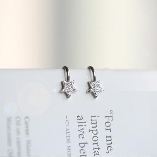 夾式耳環華麗鋯石星星U形夾夾式耳環