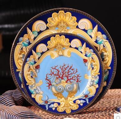 骨瓷餐飲具 歐式英式西餐盤牛排水果盤 高檔家用平盤西餐具盤子