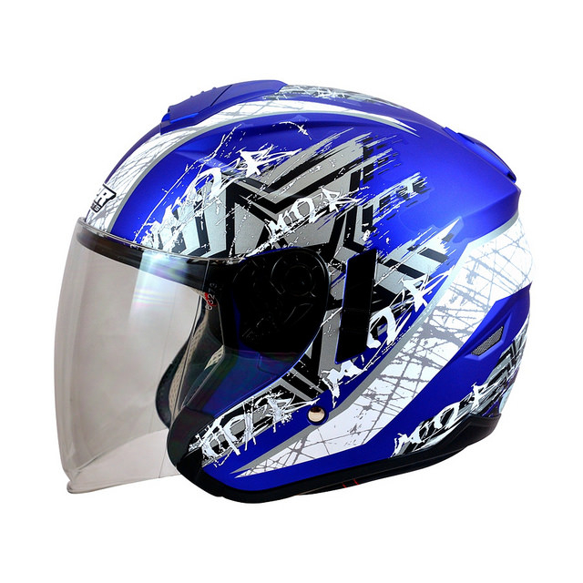 M2R FR1 FR-1 10星塵半罩安全帽3 4罩安全帽消光藍白雙層遮陽鏡片免運費