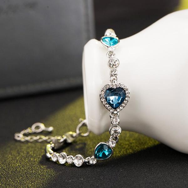 [Mini style] 手鏈 韓版 時尚 海洋之心 水晶 韓國 飾品 配飾 手鐲 手環 流行 時尚 氣質 質感 手 飾品