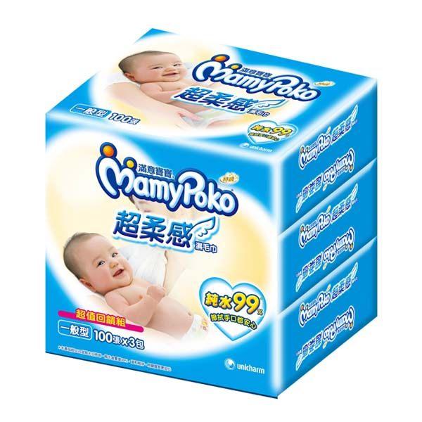 滿意寶寶超柔感純水濕巾一般型100片x3包入屈臣氏