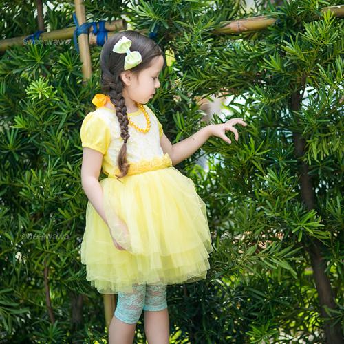 亮黃詩夏朵朵玫瑰超澎澎5層紗洋裝禮服230270水娃娃時尚童裝