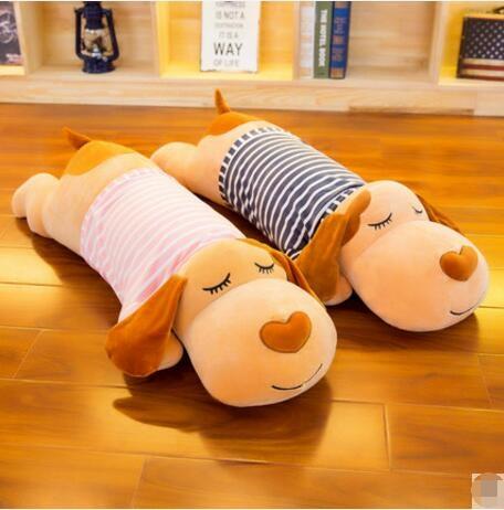 趴趴狗毛絨玩具狗狗公仔睡覺抱枕長條枕頭可愛熊玩偶布娃娃送女友 w~