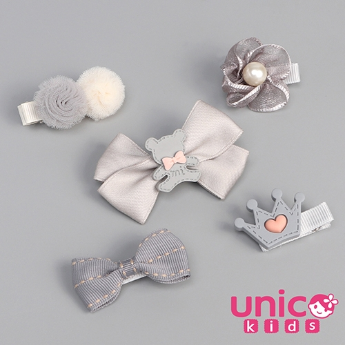UNICO 兒童 夢幻拍照婚禮最佳全包布髮夾組合-5入組