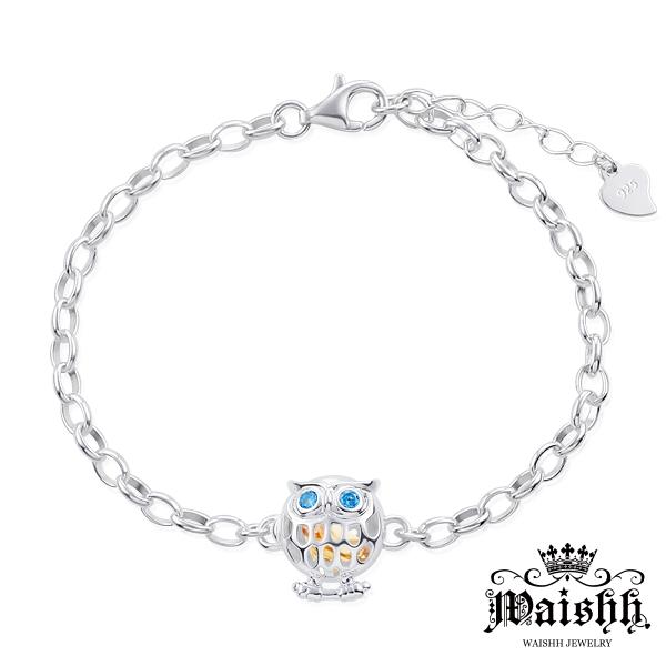 Waishh玩飾不恭貓頭鷹-藍眼可開式925純銀誕生石手鍊附贈一顆誕生石