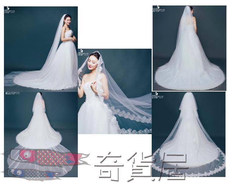 新娘頭紗韓式蕾絲花邊拖尾軟紗