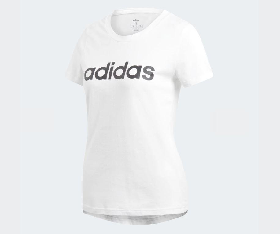 Adidas ESSENTIALS LINEAR T-SHIRT 女款白色短袖上衣-NO.DU0629