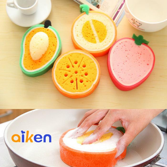 水果 廚房海綿 水果款加厚海綿 廚房用品 強力去污洗碗海棉 J2408-001 【艾肯居家生活館】