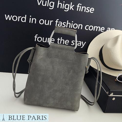 韩版復古風單肩斜挎側背包水桶包手提包21569現貨3色Blue Paris