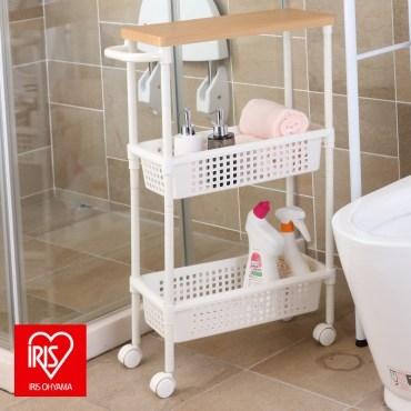 日本品牌IRIS浴室縫隙推車木紋木頂板款把手兩籃
