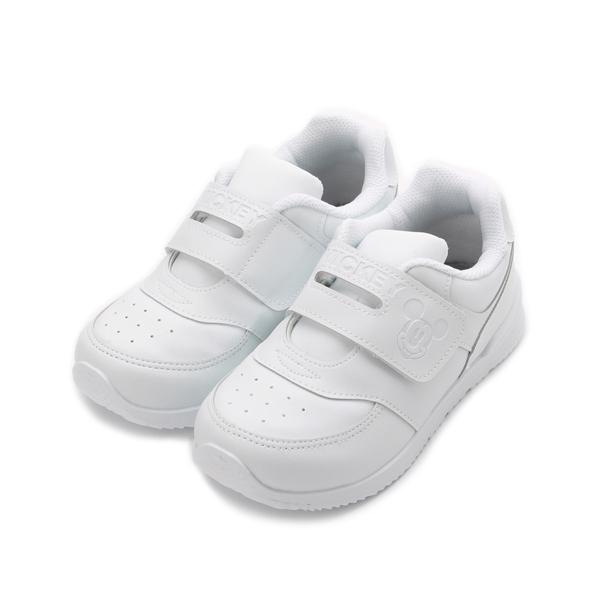 DISNEY 米奇純白魔鬼氈學生鞋 白 中大童鞋 鞋全家福