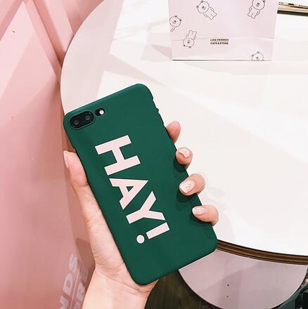 【SZ15】iPhone7 plus手機殼 歐美風綠色HAY 磨砂 硬殼  iPhone6s plus手機殼