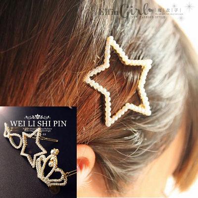 【Q21A63】魔衣子-滿滿珍珠金色造型髮飾青蛙夾