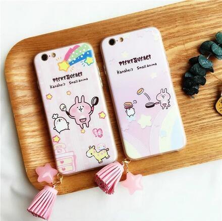 SZ62 iPhone7 plus手機殼浮雕粉底煎蛋兔子吊飾iPhone 7 6plus iphone 6s手機殼