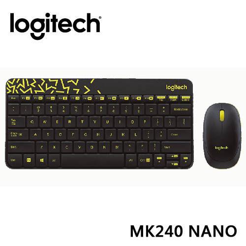 台中平價鋪全新羅技Logitech無線滑鼠鍵盤組MK240 Nano無線鍵鼠組黑色黃邊