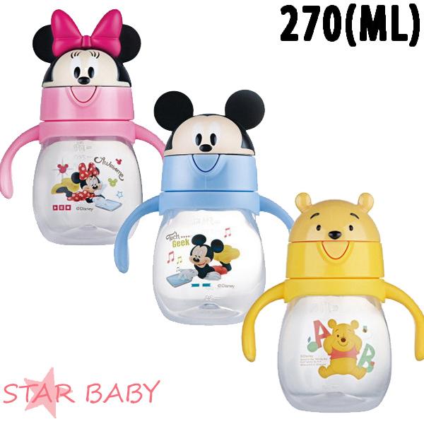 STAR BABY-迪士尼正品米奇米妮維尼幼童雙柄水杯兒童水壺學習杯學飲杯270ml