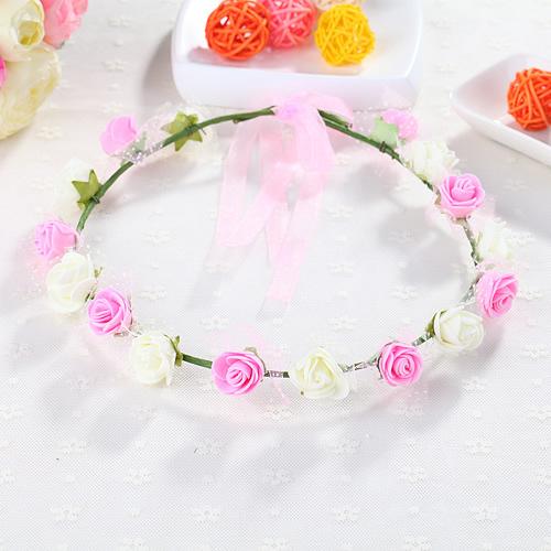 花環頭飾發飾頭環手環 森女海邊兒童 新娘花朵頭發箍 16朵花PE(十六花)花環─預購CH1731