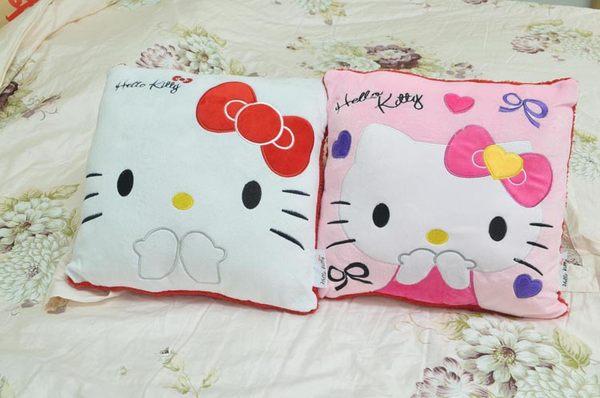 抱枕一對兩色Hello Kitty凱蒂貓優質毛絨靠墊優質高毛聚酯絨白粉紅背面紅色