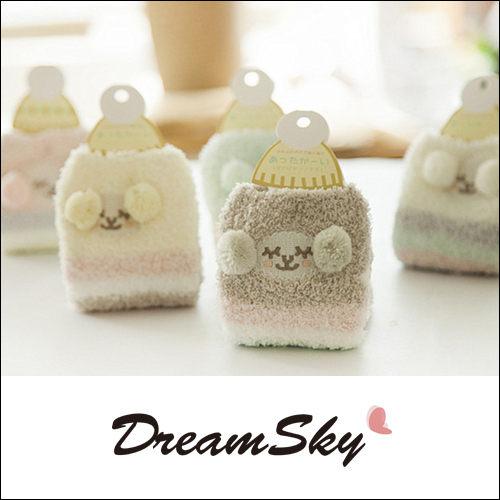 立體毛球條紋羊珊瑚絨襪子女襪居家襪室內襪冬季保暖可愛聖誕交換禮物DreamSky