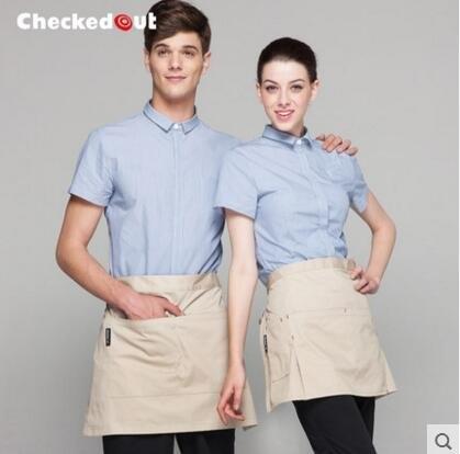 服務員工作服長袖酒店西餐廳咖啡廳快餐店制服男女服務員短袖款