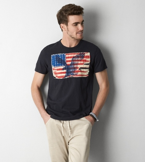 BJGO AMERICAN EAGLE AEO VINTAGE APPLIQUE GRAPHIC T-SHIRT美國AEO國旗貼布繡圓領T恤新品現貨