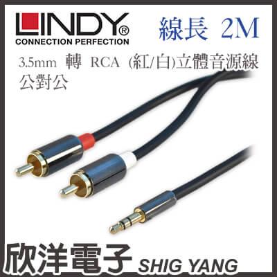 LINDY林帝3.5mm轉RCA紅白立體音源線公對公92021 2m 2米2公尺