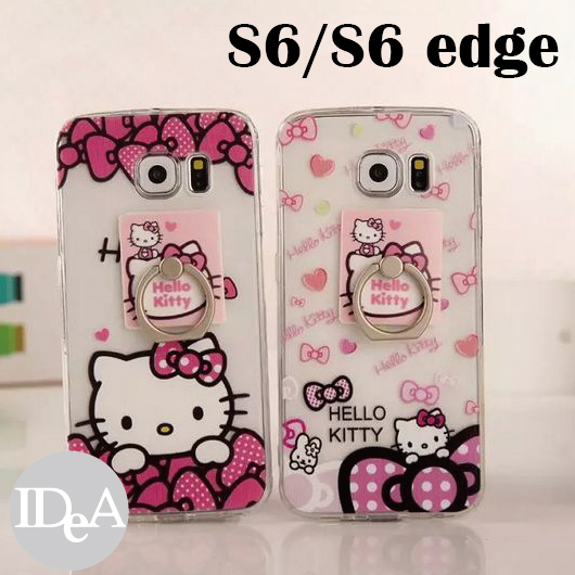Sanrio 三麗鷗 S6/ edge Hello Kitty 凱蒂貓戒指支架TPU包邊手機保護套 軟邊 PC硬背殼 指環立架 三星 Samsung