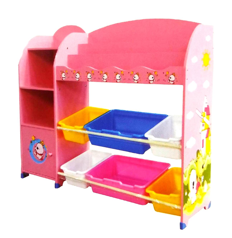 EMC兒童玩具收納書架米色粉紅色德芳保健藥妝