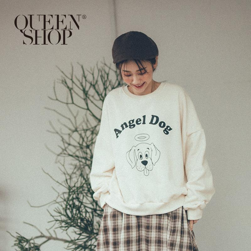Queen Shop【01110467】ANGEL DOG天使狗狗刷毛大學Tee 兩色售*現+預*