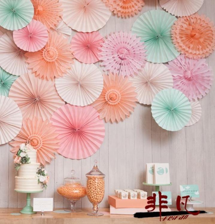 6個裝紙扇花圓形拉花寶寶生日派對店慶裝飾用品非凡
