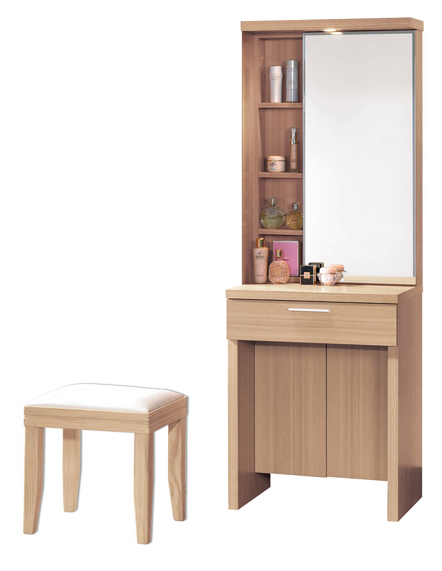 【森可家居】維多利亞2尺化妝台(含椅) 6CM574-2梳妝淨檯 木紋質感 無印北歐風
