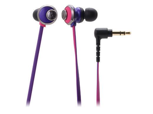 台中平價鋪全新鐵三角ATH-CKF77耳塞式耳機紫粉優美曲線女性專屬台灣鐵三角公司貨