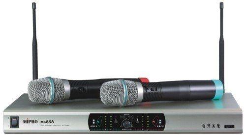 ^聖家^MIPRO 嘉強UHF雙頻道自動選訊無線麥克風 MI-858【全館刷卡分期 免運費】