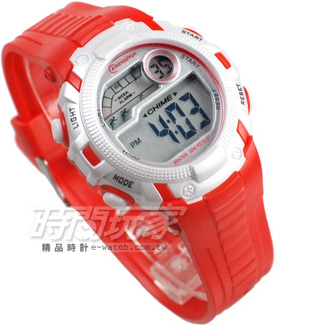 MINGRUI多色搭配多功能計時碼錶電子錶女錶MR8562紅