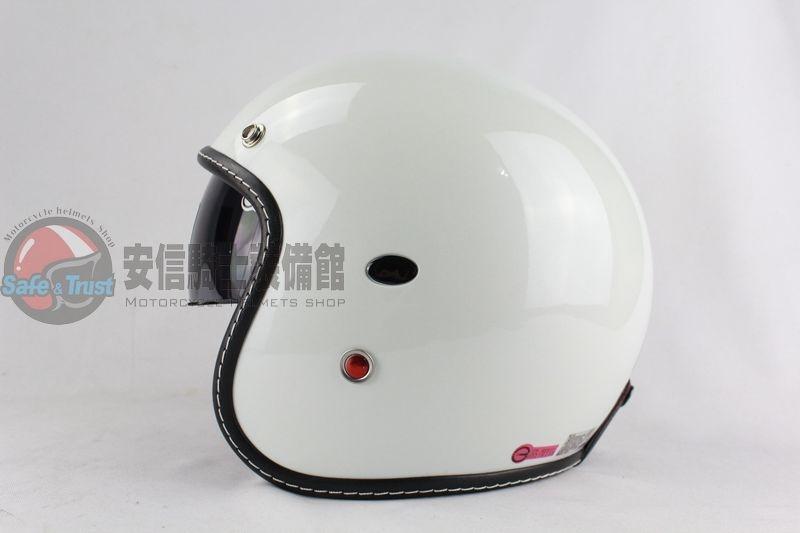 中壢安信GP5 338素色素白半罩安全帽復古帽內墨片