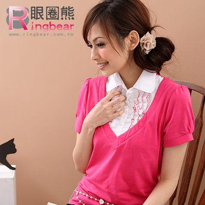 假兩件--浪漫柔美氣息假兩件蕾絲珍珠扣短袖襯衫(黑.桃.綠S-XL)-H28眼圈熊中大尺碼★