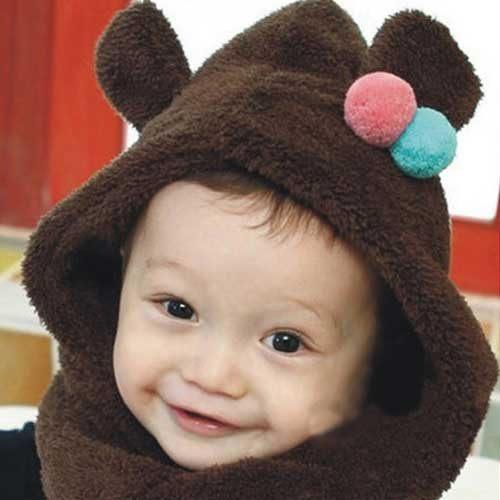 Qmishop韓版男女寶寶嬰兒童保暖糖果色可愛造型嬰兒圍脖帽嬰兒毛線帽針織帽QB117
