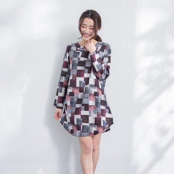 簡約棉麻撞色幾何格紋長版上衣短洋裝 [灰黑 黃綠] 二色售