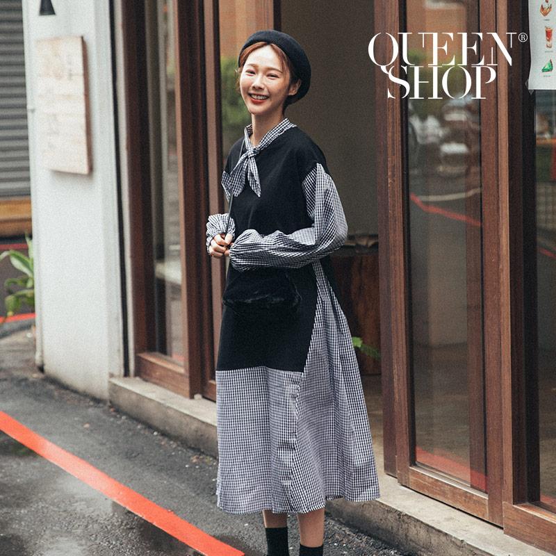 Queen Shop【01084780】拼接衛衣造型領格紋洋裝 兩色售 *現+預*