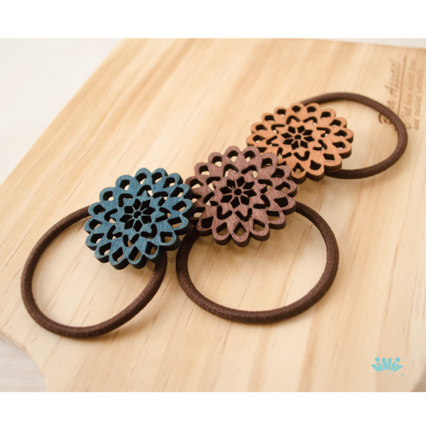 viNvi Lady 自然風木質鏤空花朵髮圈 髮束 髮飾