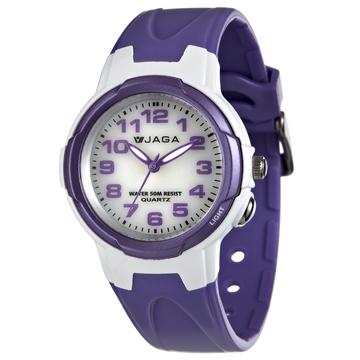 JAGA 捷卡 AQ71A-DJ 繽紛炫麗 多功能防水錶 多功能電子錶 運動錶 女錶/中性錶/手錶 白紫色