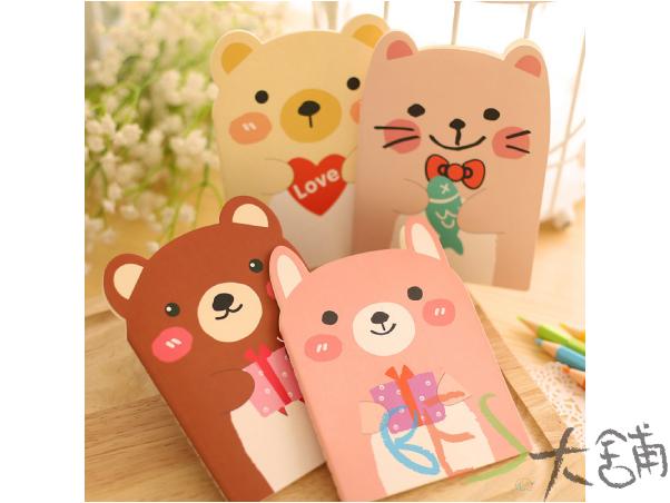文具│隨記本│動物造型隨記本@奶油熊貓咪咖啡熊粉紅兔魚禮物愛心送你