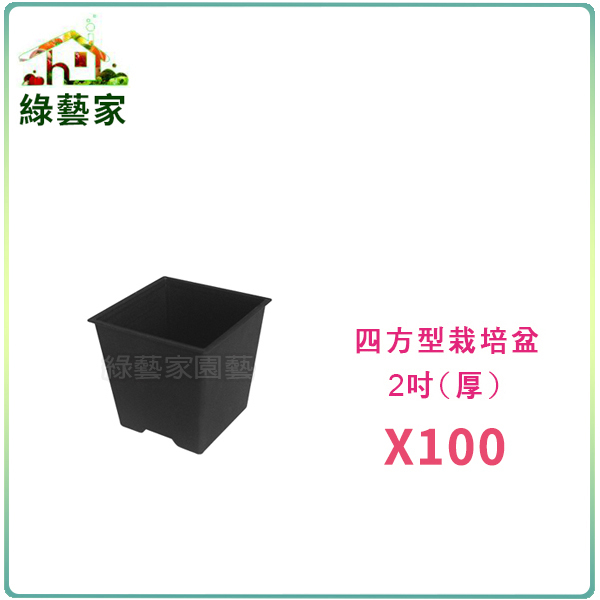 【綠藝家】四方型栽培盆2吋-黑色(厚) 100個/組