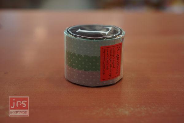 日本倉敷意匠和紙膠帶-白色點點3入組13mm